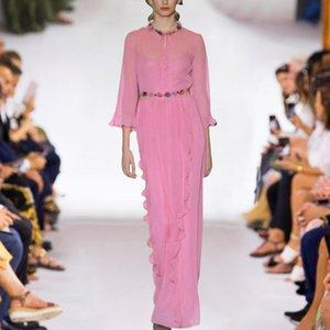 Лето 2020! Элегантный рябить шифон длинное платье для женщин, Runway Designer вокруг шеи длинным рукавом плиссированные макси платье