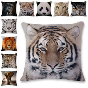 Cushion Cover Animal Printed Throw Pillows Covers Linen Decorative Pillowcase Home Beddroom Decor Tiger Elephant Monkey 7 Designs DW4801