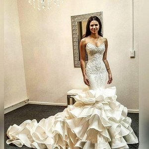 Sweetheart Mermaid Wedding Dresses 2020 Cascading Ruffles Skirt Backless Church Wedding Gown Lace Applique Country Castle Bridal Gown AL6583