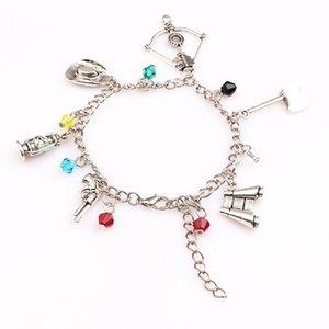 The inspired bracelet Apocalypse Zombie Survival Horror charm cross bow axe gun pendant bracelets for Women men