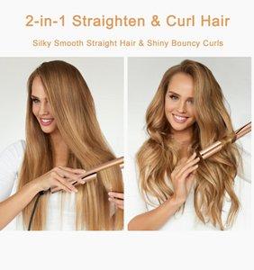 Professional 2 em 1 Straightener Curling Ferro revestimento cerâmico alisador de cabelo e encrespador ferros For All Estilo de Cabelo Tipos