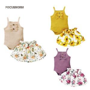 FOCUSNORM 0-18M de nueva ropa de las muchachas del verano Establece mangas Volantes sólidos Romper Girasoles faldas 2pcs