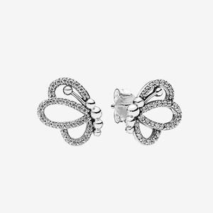 NEW Игристые бабочки серег Женщины Девушки партии ювелирных изделий с оригинальной коробки для Pandora серебра 925 серьги Sterling