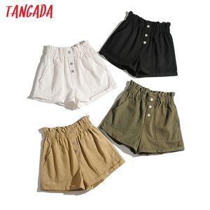 Tangada women cotton shorts high waist buttons pockets female retro basic casual shorts pantalones 1M2