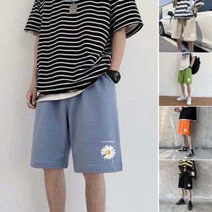 Las maneras para hombre coreano verano pantalones cortos del crisantemo colorido Streetwear delgadas Sweatshorts masculinos tendencia Pantalones cortos Pantalones Streetwear