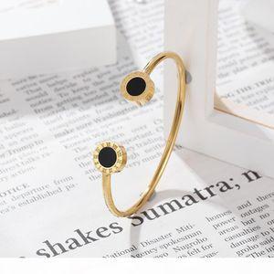 High Quality Natural Black Shell Roman Numerals Bangle For Women Rose Gold Color Titanium Steel Bracelet