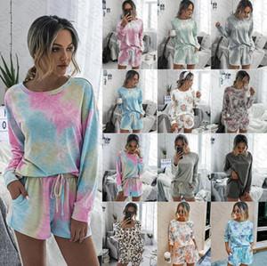 Mulheres Long Sleeve Hoodie Shorts Set 2 peças de vestuário Tie Dye Pullover Camisa-Calças Curtas Treino Comfort Pajama Define Início Outfits D71407
