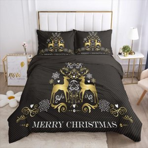 3D Bedding Sets XMAS Duvet Cover Set Quilt Covers and Pillow Shams Comforther Case Christmas Deers Design Black Bed Linen