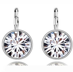 Earring Diamond Studs Silver Elements Round Austrian Crystal Earrings Stud fashion jewelry wedding gifts for women d1