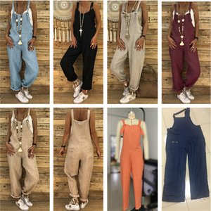 Plus Size Women Overalls Autumn Winter Flax Jumpsuit Casual Loose Suspender Trousers Pants High Waist Rompers Ovrsized Jumpsuits Overalls