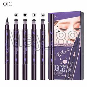 QIC Uccidi Nero doppio Eyeliner Stamp Pen duratura Speedy trucco waterproof occhi con il cuore Stella Luna o Plum Blossom 4 stili