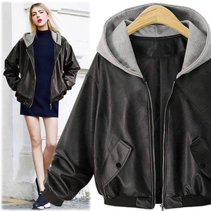 Oneimirry Plus Size Hooded Faux Leather Jackets Women Coats Autumn Winter 2020 Black Punk Classic Long Sleeve PU Coat Clothing