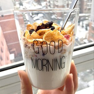 1 pcs Lovely Glass Breakfast Cup Coffee Milk Yogurt Mug Creative Good Morning Mug Gifts 450ml,Glass coffee travel cup