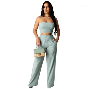 Leg High Waist Sets Summer Womens 2pcs Tube Top Suits Designer Sexy Womens Two Piece Pants Solid Color Pleasted Wide