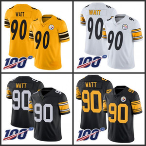 PittsburghladrõesHomens # 90 T. J. Watt Black Equipe Color Mulher Mulher Mulher CosturaNFL 100th Temporada Vapor Limited Jersey