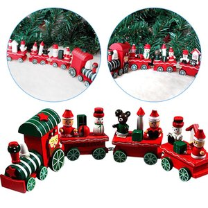 Christmas Mini Train Painted Wood with Santa bear Xmas Kid Toys Children Gift ornament Christmas Decoration for home new year