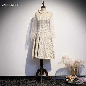 Платья для вечеринок Jancember WLN20059 темпераментные дамы для шампанского MID-длиной A-Line длинные рукава фонарика вечерние выпускные 2021