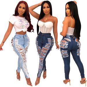 Dark Blue Denim-Hosen-Frauen-Retro- feste Sexy Loch aushöhlen zerrissene Jeans Schlaghose Straße dünne hohe Taillen-Lady Pant