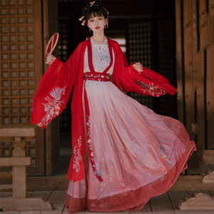 Древний китайский костюм феи Cosplay Hanfu платье Женщины Vintage Тан костюм девушки Noble Princess Одежда Folk Dance одежда DN6040