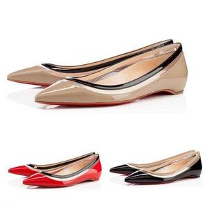 sslouboutinCL2019 New Sexy Pointed Toe Women Red Bottom Paulina PVC Patent Leather Women s Flat Ballerine Party Weddin