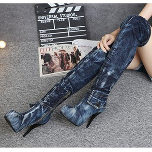 Women Platform Thigh High Boots Blue Denim Over The Knee Boot with Pocket Autumn Winter Shoes Woman Motorcycle Boots