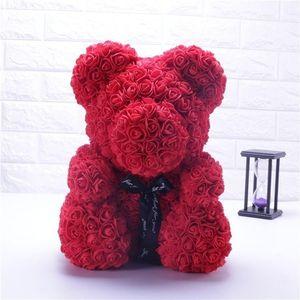 San Valentino regalo 25 centimetri Regali Decorazione Red Rose Orsacchiotto Rosa fiore artificiale di Natale Regalo di nozze San Valentino Donne