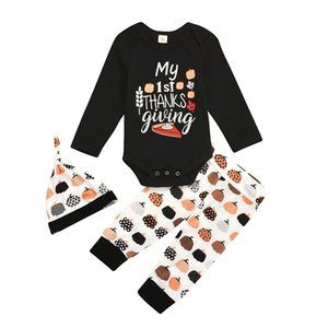 Halloween Clothes Newborn Clothing Set Infant Boy Girls Letter Pumpkin Romper + Pumpkin Print Pants + Hats 3pcs set Cute Baby Outfits M2257
