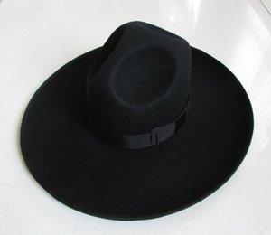 Erkekler% 100 Yün Fedoras Şapka Geniş Brim Oversize 12cm Yün Şapka Moda Siyah Yün Keçe Fedora Cap Binicilik B-8127