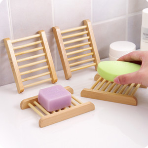 Natural Bamboo Trays Wholesale Wooden Soap Dish Wooden Soap Tray Holder Rack Plate Box Container for Bath Shower Bathroom GH328