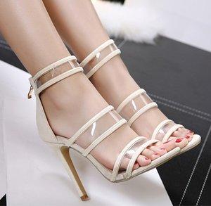 Мода Модель European American Style Sexy Прозрачное на высоких каблуках рыбы рот Peep Toe Женщины сандалии 344