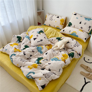 Winter Magic velvet bed set dinosaur warm duvet cover fleece flannel bed sheet 3 4pc kid boy girl beding set carrot strawberry