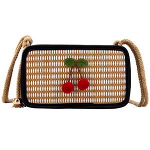 Sommer-Frauen-Tasche Kirsch Woven Diagonal-Kreuz-Tasche Kleine Pailletten Net Red Mini Umhängetasche