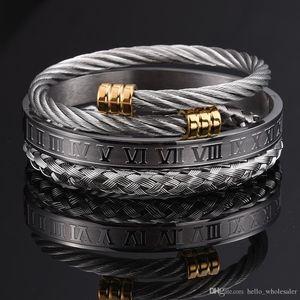 3pcs / Set römische Ziffer Männer Armband-handgemachte Edelstahl Hanf-Seil Schnalle geöffnete Armbänder Pulseira Bileklik 2020 Luxuxschmucksachen