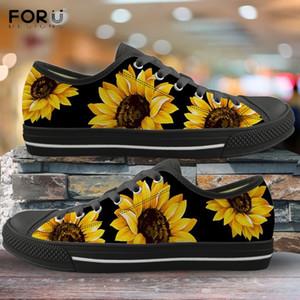 FORUDESIGNS 3D Sarı Çiçek Ayçiçeği Desen Kadın Düşük Üst Tuval İlkbahar / Sonbahar Sneakers Lady 2019 Yeni Vulkanize Ayakkabı MX200801