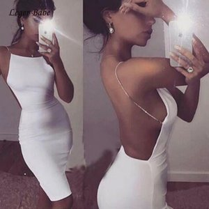 New Sexy Backless Bandage Dress Black White Sleeveless Chain Vestidos Women Cocktail Party Club Wear Bodycon Dresses Verano T200710