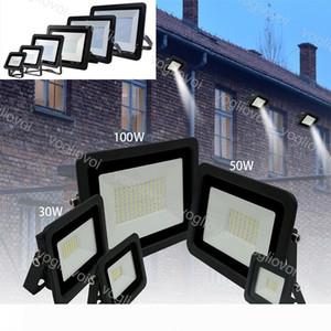 Floodlights 10W 20W 30W 50W 100W Ultra Thin Led Flood Light Spotlight 110V 220V IP68 Outdoor Wall Lamp Flood Light DHL
