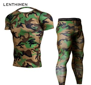 2018 Ensembles Crossfit Compression Shirt Men Army Green Camo 3D T-shirt MMA Rashguard Leggings Bodybuilding Fitness T-Shirts Joggers
