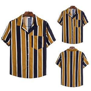 Hommes Vintage poches Chemise à fleurs d'été hawaïenne Vocation rayé imprimé Chemises Tops manches courtes Casual Lapel