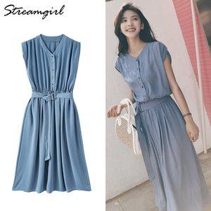 Streamgirl Maxi şifon Elbiseler için Kadınlar Casual Yaz 2020 Sarı Ofisi Dantel Uo Elbise Butoons Gevşek Uzun Elbise Yaz