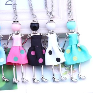 Trendy women doll cute black long necklaces & pendant hot dress baby girls maxi necklace brand fashion statement jewelry