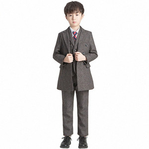 Boys Show Dress Suit Set Autumn Winter Children Wedding Party Performance Clothes Set Kids Windbreaker Blazer Vest Shirts Pants mlst#