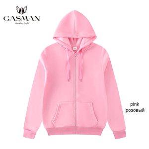 hoodies Gasman Roupa sólidos casuais hoodies camisolas das mulheres zipper inverno manga longa bolso Feminino hoodies 2020