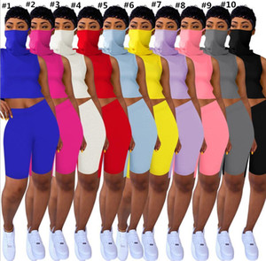 Women Summer 2 Two Piece Outfits Shorts Tracksuits Sleeveless Vest With Face Mask Bodycon Biker Casual Sports Outfits Set Jogging Suit