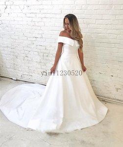 Satin Wedding Dresses 2020 Off Shoulder Sweep Train A Line Simple Garden Bridal Gowns vestidos de novia Plus Size