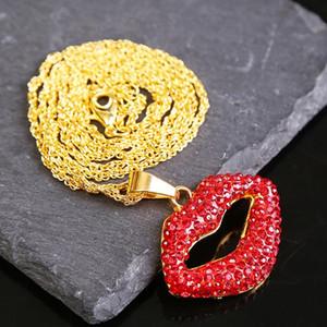 colar os lábios designer de vermelho com jóias corrente de ouro Pendentif chaîne en ou derramar colares de cristal femme