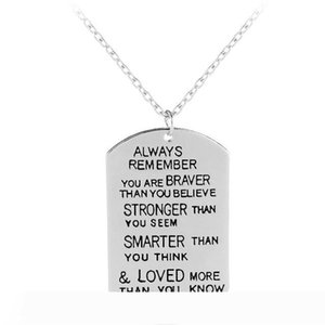 always remember you are braver than you believe fashion accessories letter necklace winter sweater chain