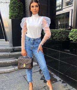 2020 New Fashion Women Sheer Mesh Puff Long Sleeve Turtle Neck Tops Ladies Girls Solid Blouse Ruffled Shirts Black White