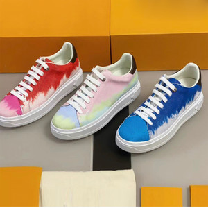 Designer in pelle Escale scarpa da tennis delle donne della piattaforma formatori Vitello Lace-up scarpe casual 3D Monogram Flowers Sneakers Top Quality