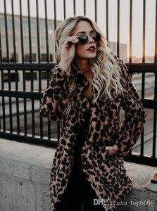 Women Lapel sexy leopard fur Coat Top Quality fashion Noble Sexy Ladies OL Star Street shooting Boutique Warm autumn winte Jacket