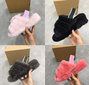 Mesdames laine fourrure Pantoufles encore Femme Maison chaussons en fourrure Chaussures Taille EUR 36-40